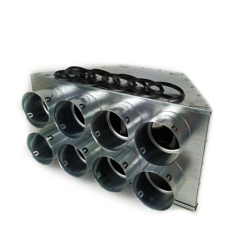 Rozvody vzduchu - Distribuční box přímý s izolací DL 8x90/160