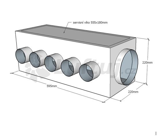 Rozvody vzduchu - ALPOX ATYP rozdělovací izolovaný box pro rekuperaci - zakázková výroba